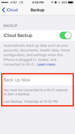 iCloud backup screenshot on iphone