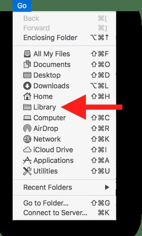 Finder's Go menu with Option key