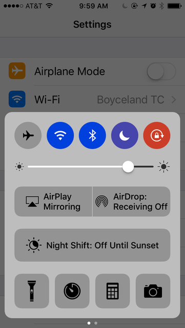 iOS 10 uses color to show what's turned on and what's turned off