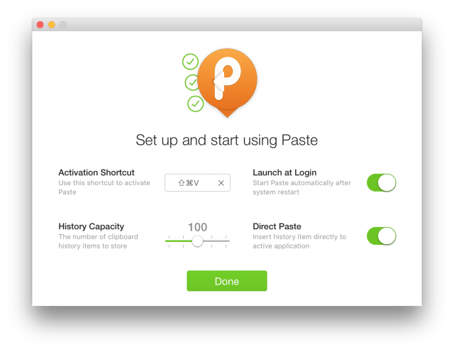 Paste's initial setup screen