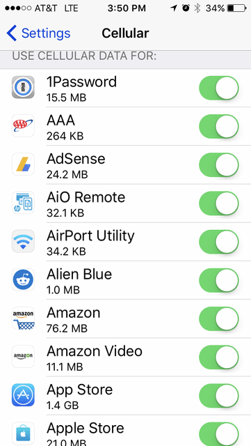 iOS 10 Use Cellular Data For