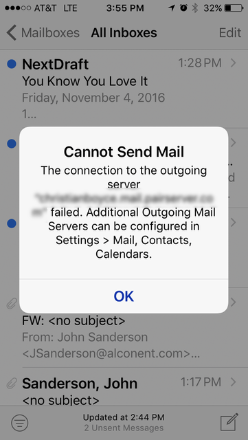 iOS Cannot Send Mail message