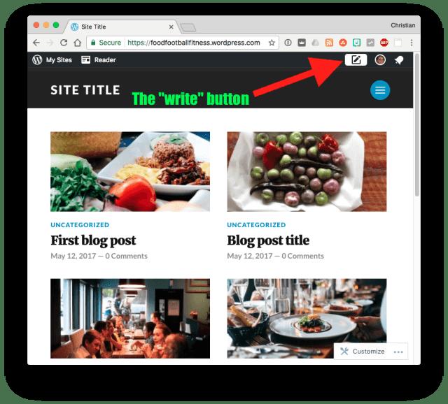 WordPress Write Button