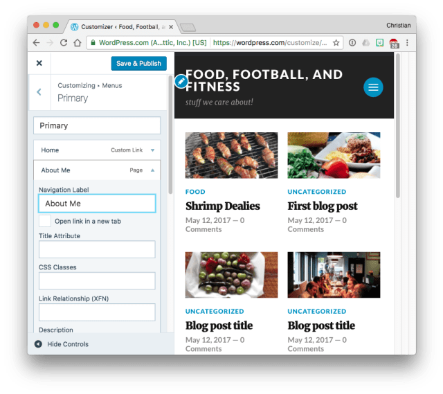 WordPress.com changing a menu item