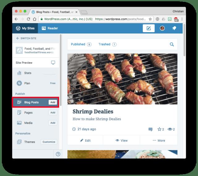 WordPress.com Dashboard publishing blog posts