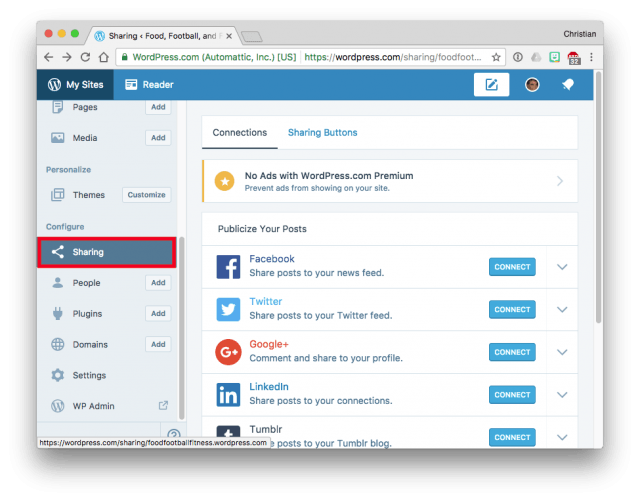 WordPress Sharing options