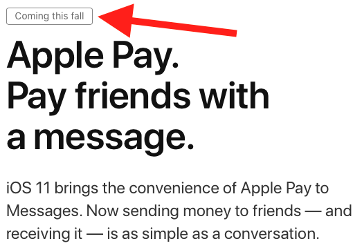 """Person to Person Apple Pay: """"coming this fall."""""""