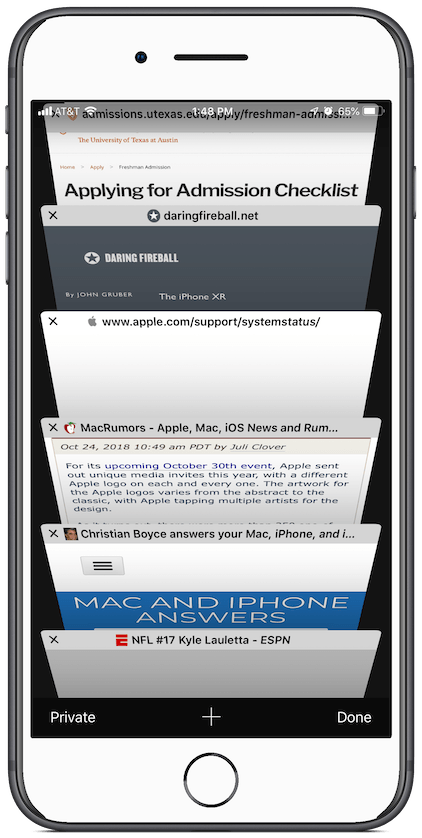 Screenshot: open tabs in Safari on an iPhone 8 Plus