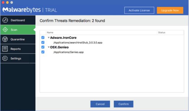 Malwarebytes: This scan found some malware.