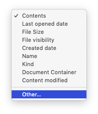 Smart Folders: choosing other criteria