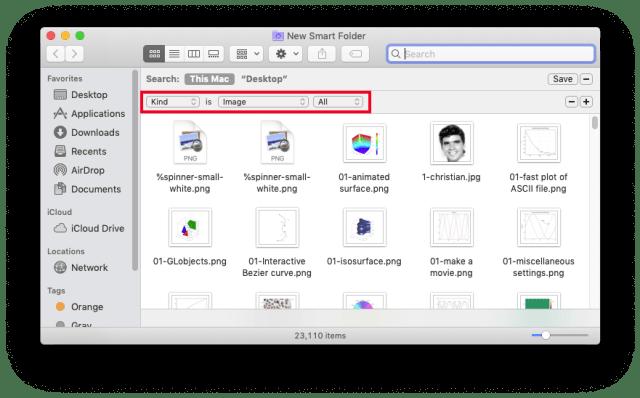 Smart Folders: setting search criteria