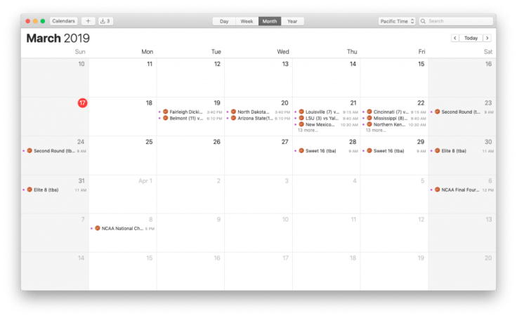 Calendar app with March Madness calendar.