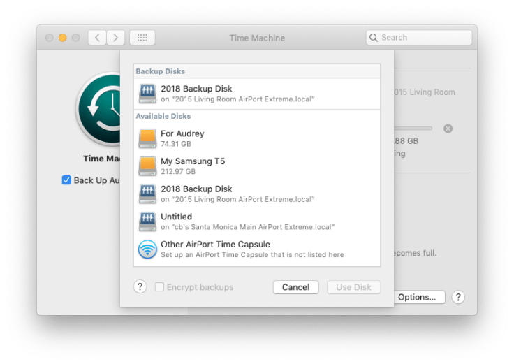 Choosing a new backup disk for Time Machine