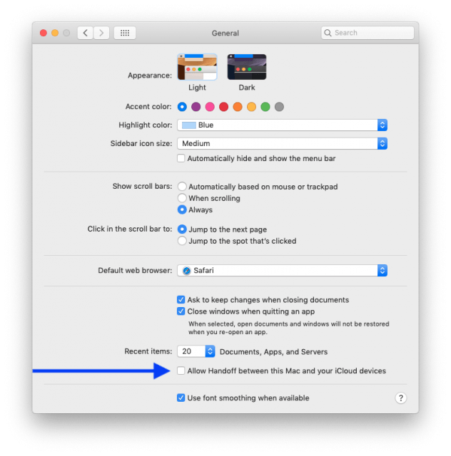 General preference pane showing how to turn off Handoff