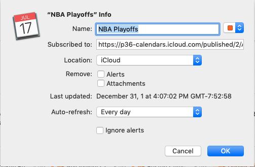 Dialog box for adding NBA Playoffs calendar to Mac Calendar app.