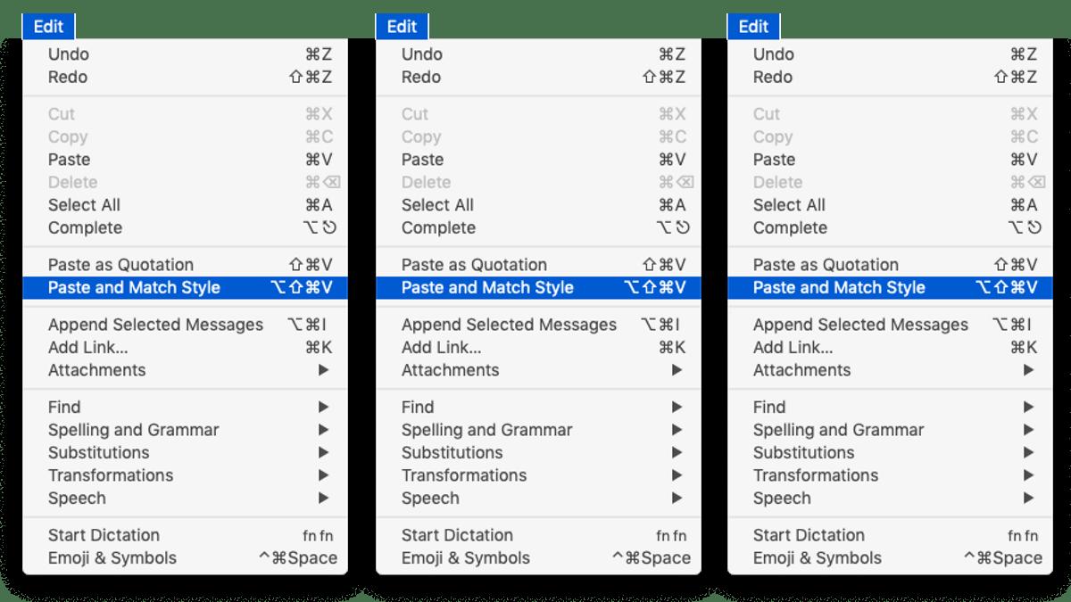 Edit menu/Paste and Match Style