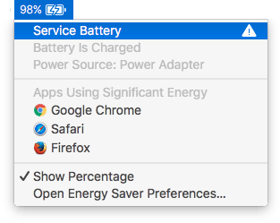 This battery needs service. Discovered by holding the Option key and clicking on the Battery icon in the menu bar.