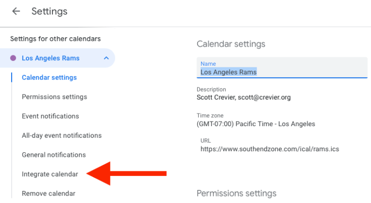 Settings for your newly-added Google calendar