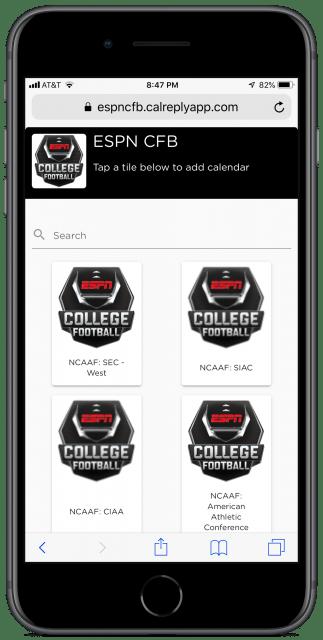 ESPN's football calendar page on an iPhone