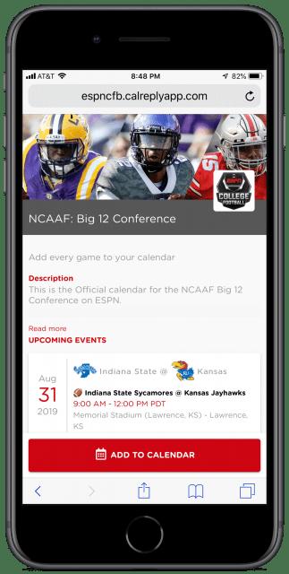 ESPN's Big 12 football conference calendar page