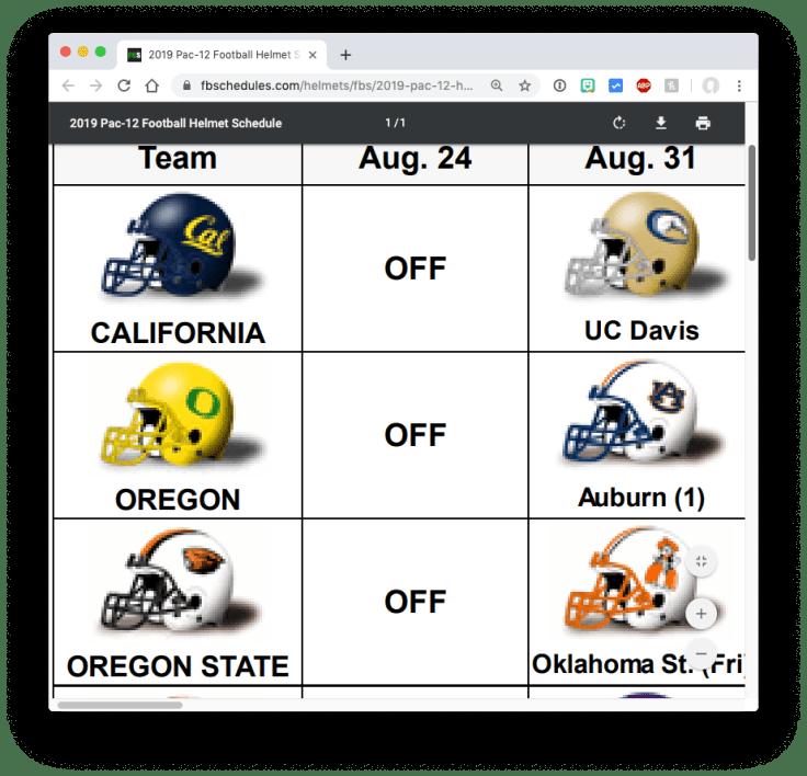 College Football Helmet Schedules (zoomed in)