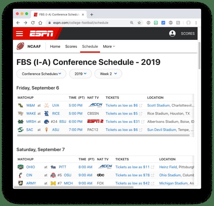 ESPN college football schedule