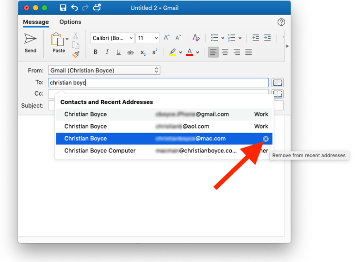 Removing an address from Outlook's Previous Recipients list