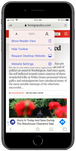 """Default view in Safari on an iPhone, with AA menu showing """"Show Reader View."""""""