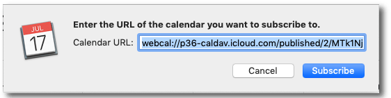 Step 1 in adding the XFL calendar on a Mac.