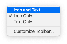 """Choosing """"Icon and Text"""" after Control-clicking the Finder toolbar"""