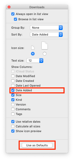 Turning on Date Added in View Options window