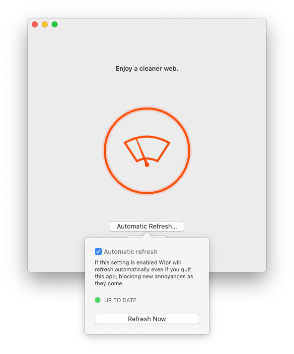 Wipr's settings