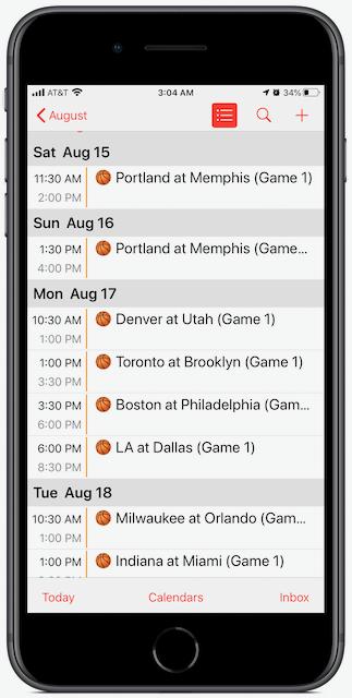 iPhone screenshot showing NBA Playoffs Calendar