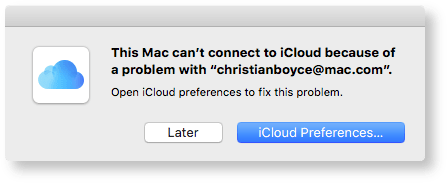 Can't connect to iCloud
