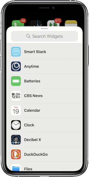 Alphabetical list of Widgets available on this iPhone in iOS 14