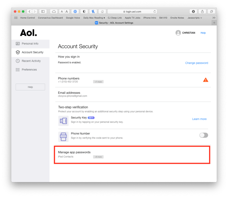 """AOL Account page, with """"Manage app passwords"""" highlighted in the Account Security section"""