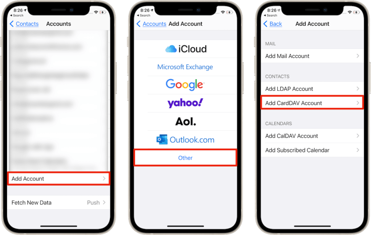 """Adding a """"CardDAV"""" account for your AOL contacts"""