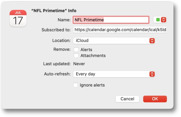 Adding the NFL Prime Time games to a Mac's calendar (changed options)