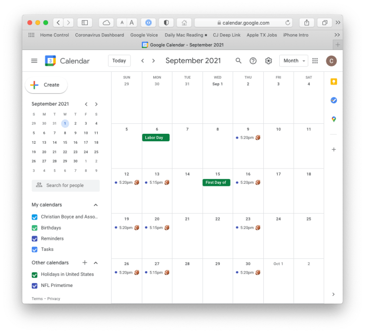 NFL Primetime calendar in Google Calendar