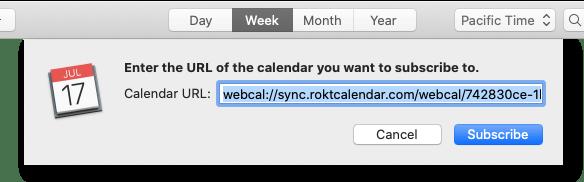 Subscribing to a calendar on the Mac, in the Calendar app