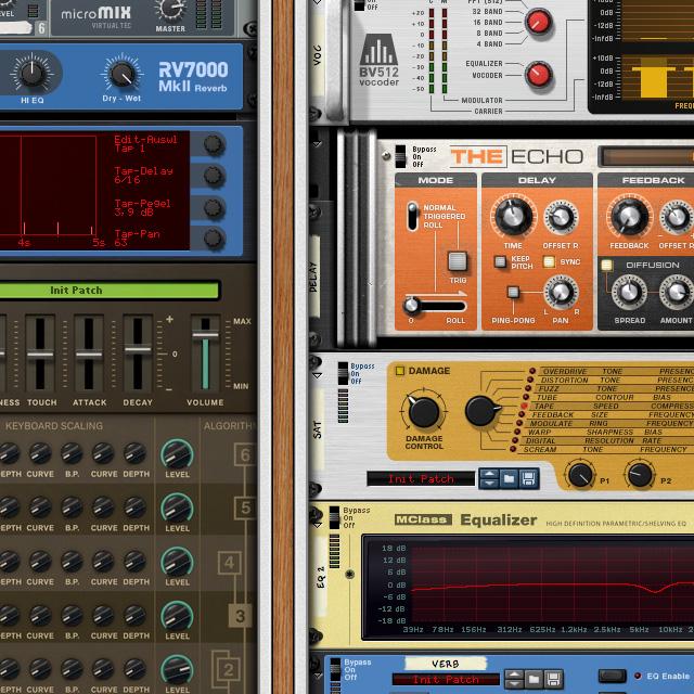 Originalgröße des Instrumenten-Racks bei der Musikproduktion mit REASON