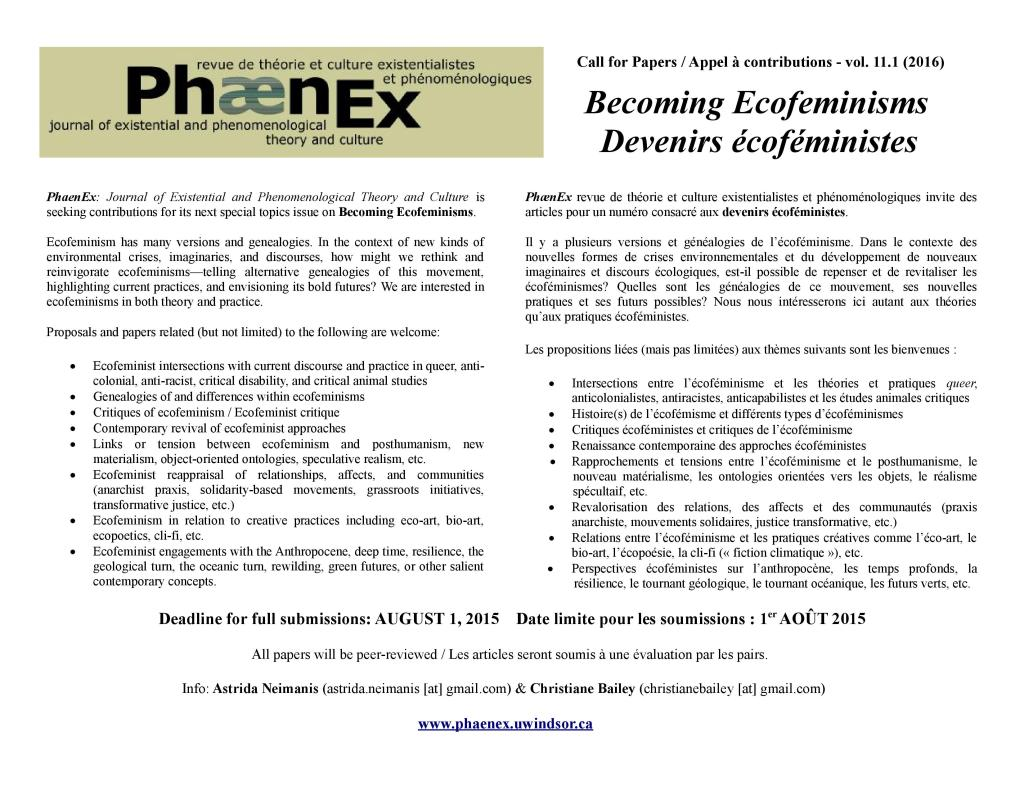 Call for papers Appel a contributions Phaenex Ecofeminism Vol 11 No 1 2016 -2