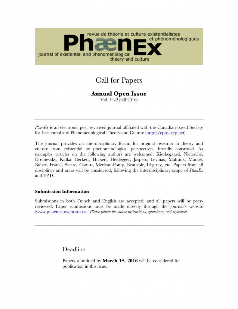 Phaenex - CFP - Open Issue 2016 11-2 English
