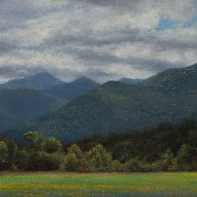 Oil painting entitled Adirondack Airfield, by artist Christian Hemme.