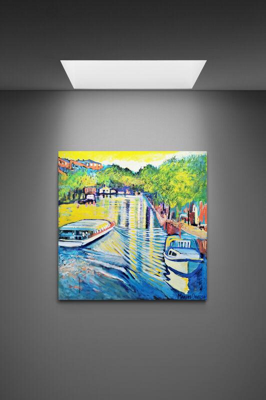 Kanalrundfart Christianshavn, Oil on canvas, By Marios Orozco