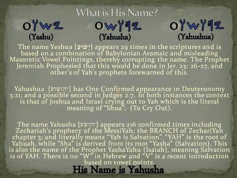 Messiah's name is Yahusha, not Yeshua or Yahushua