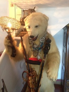"""Dali was given this stuffed polar bear from his good friend. Dali has a lot of taxidermy in his house. He was obsessed with immortality. Stuffed animals signified life to him as well as the """"siempre vive"""" flower which means always living. He covered his house with these flowers. Also, Dali painted a lot of eggs in his paintings. Eggs were also a symbol of immortality and everlasting life to Dali."""