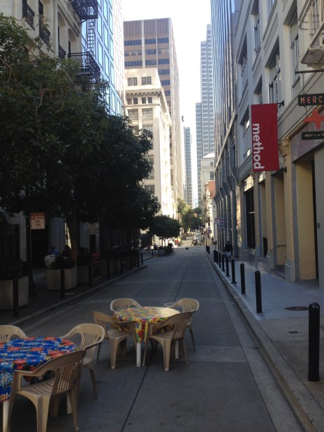One of the two spots in SF with a direct view of the Ferry Building. The other spot is Market Street.