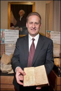 Green with the Aitken Bible, the first printed English Bible in America.
