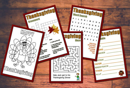5 Digital Kids Thanksgiving coloring and game set